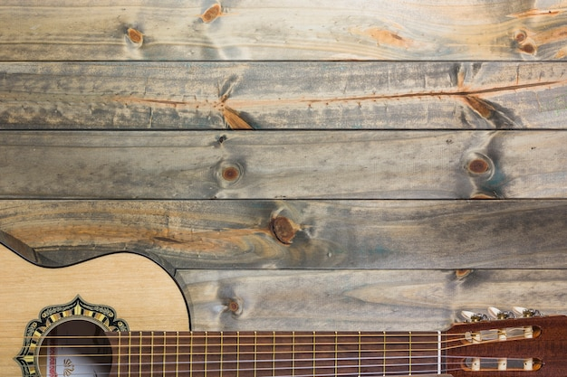 Gros plan, guitare, table bois