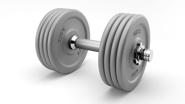 Gros plan sur les haltères de gym gris isolés