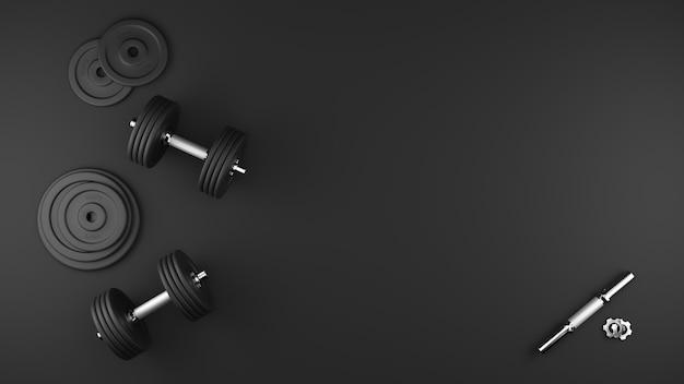 Gros plan sur les haltères de gym noir isolés