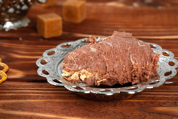 Gros plan d'une halva dessert turc