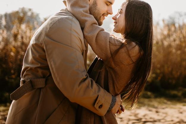 Gros plan, heureux, couple, dehors