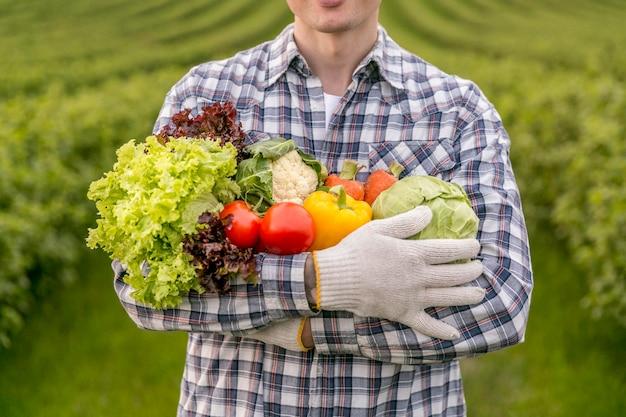 Gros plan, homme, legumes