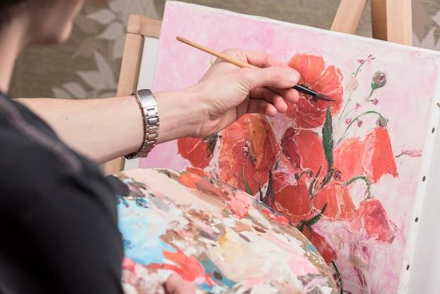 Gros plan, homme, peinture