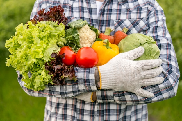 Gros plan, homme, tenue, legumes
