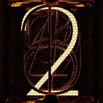 Gros plan de l'indicateur de tube nixie, numéro 2. style rétro. rendu 3d.