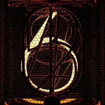 Gros plan indicateur de tube nixie, numéro 6. style rétro. rendu 3d.