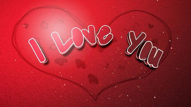 Gros plan je t'aime texte et coeur romantique sur fond brillant de la saint-valentin. illustration 3d de luxe et de style élégant pour les vacances