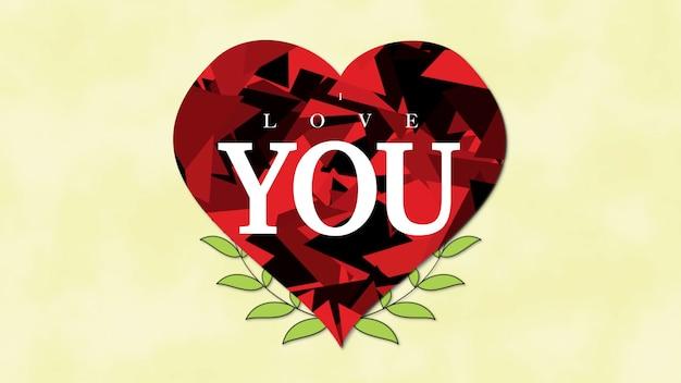 Gros plan je t'aime texte et motion coeur rouge abstrait avec des fleurs sur fond de saint valentin. illustration 3d de style dynamique de luxe et élégant pour les vacances