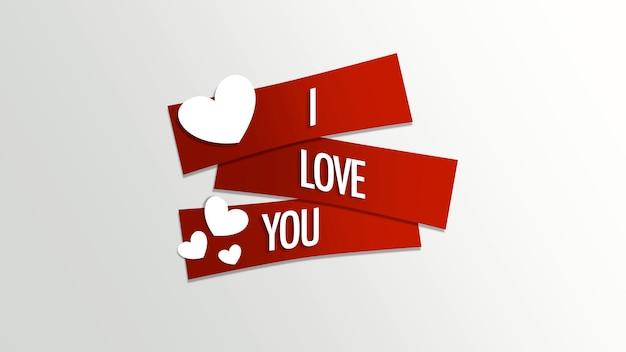 Gros plan je t'aime texte et motion coeurs blancs romantiques sur fond de saint valentin. illustration 3d de style dynamique de luxe et élégant pour les vacances