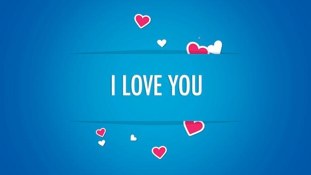Gros plan je t'aime texte et mouvement coeurs rouges romantiques sur fond de saint valentin