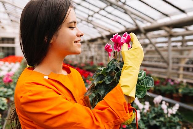 Gros plan d'une jeune jardinière souriante examinant des fleurs roses