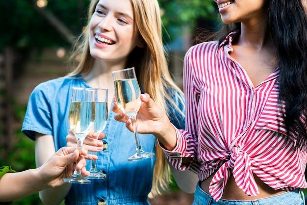 Gros plan, jeunes filles, grillage, boissons