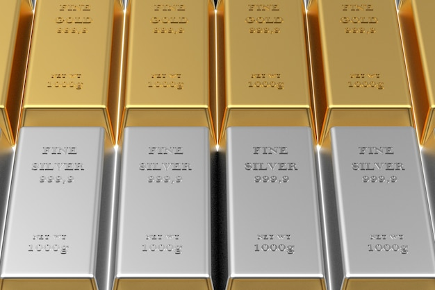 Gros plan de lingots d'or et d'argent