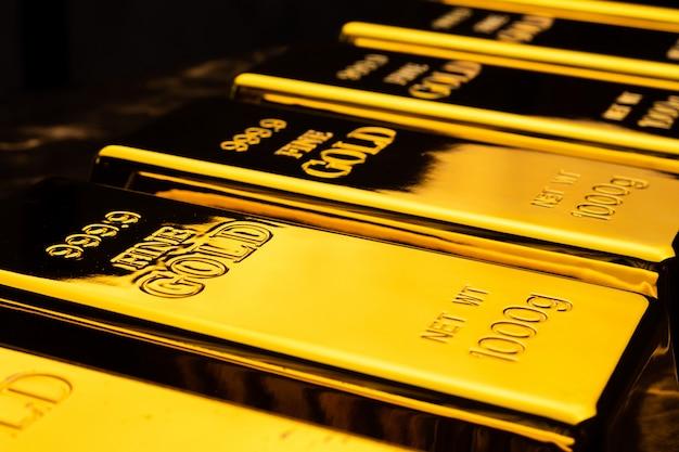 Gros plan des lingots d'or. concept financier