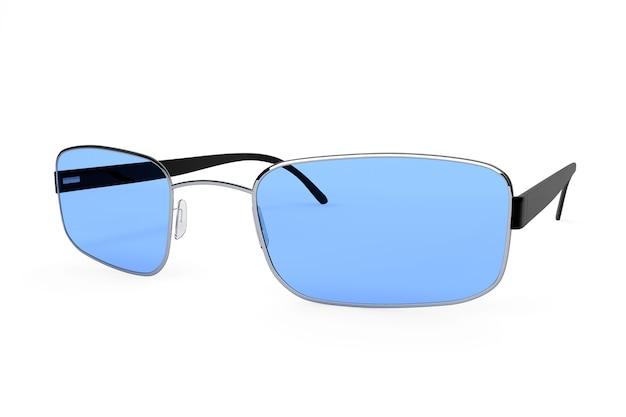 Gros plan de lunettes modernes avec verre bleu sur fond blanc.