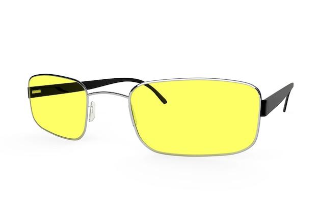 Gros plan de lunettes modernes avec verre jaune sur fond blanc.