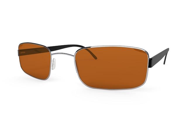 Gros plan de lunettes modernes avec verre marron sur fond blanc.