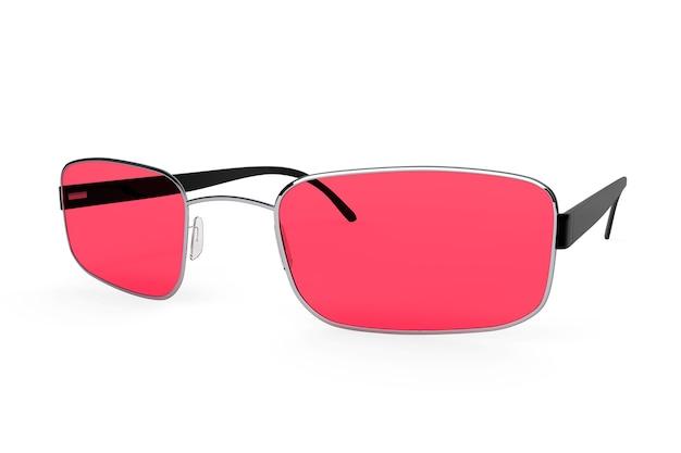 Gros plan de lunettes modernes avec verre rouge sur fond blanc.