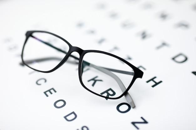 Gros plan de lunettes noires portant sur papier avec des lettres. chose pour une meilleure vision. vérifiez la vue. lunettes élégantes simples. clinique d'ophtalmologie et concept de médecine moderne