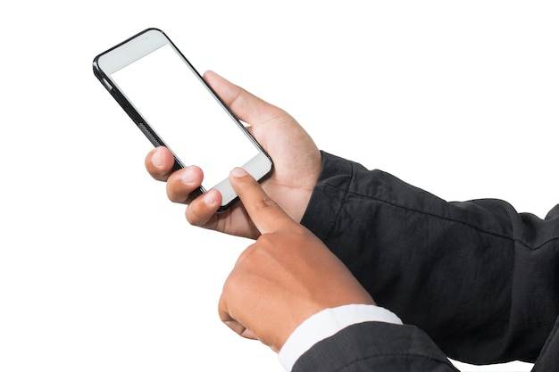 Gros plan d'une main d'affaires utilise un téléphone mobile