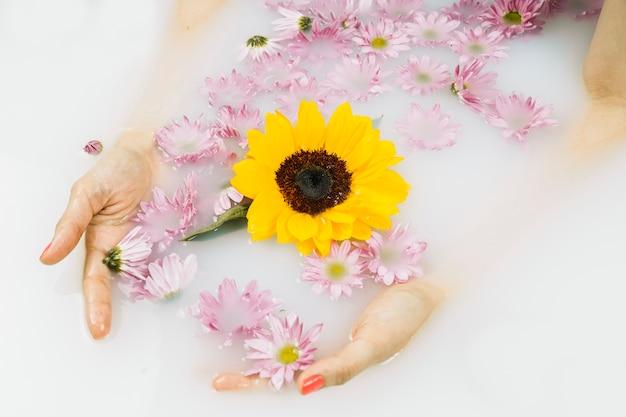 Gros plan de la main d'une femme avec des fleurs jaunes et roses flottant sur l'eau