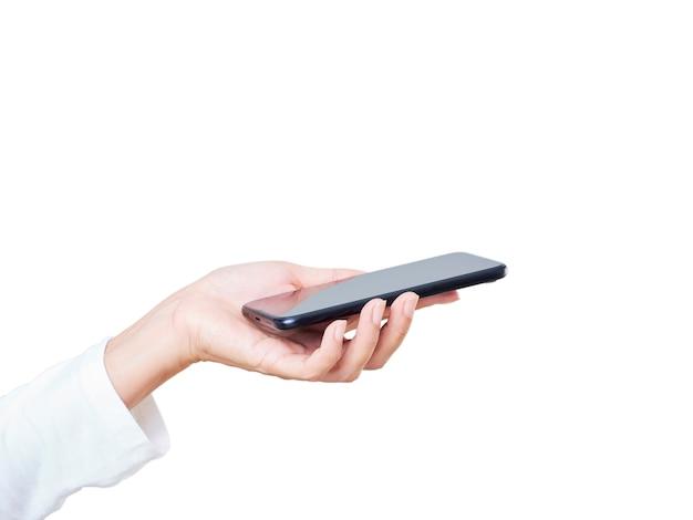 Gros plan, de, main femme, tenue, smartphone, blanc, fond