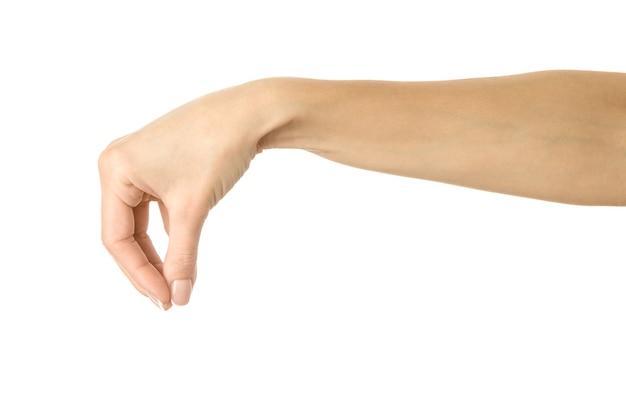 Gros plan sur la main gesticulant isolé