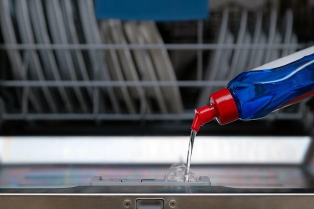 Gros plan de la main en insérant une capsule de savon dans un lave-vaisselle dans la cuisine.