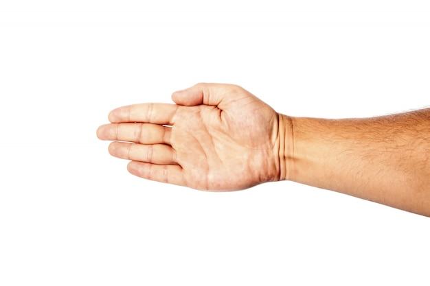 Gros plan de la main masculine sur un blanc montre le geste de la main, paume. isoler.