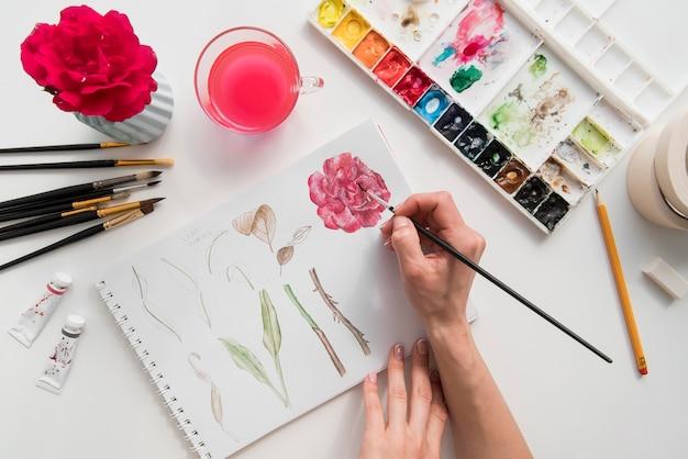 Gros plan, main, peinture, fleur