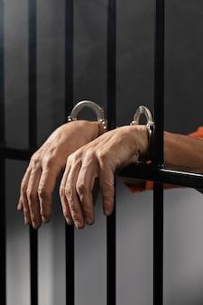 Gros plan sur la main portant des menottes en prison