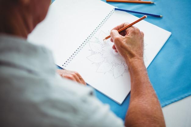 Gros plan, mains, écriture, blanc, papier