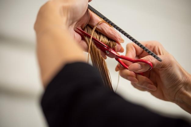 Gros plan des mains féminines tenant des ciseaux de coiffeur et coupe de longs cheveux blonds