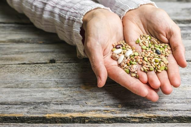 Gros plan de mains féminines tenant des haricots mélangés
