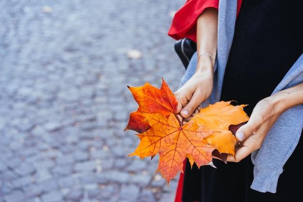 Gros plan des mains de la jeune fille tenant des feuilles d'érable automne