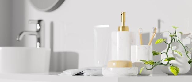 Gros plan sur la maquette d'accessoires de bain avec un bassin de bouteille de shampoing dans une salle de bain moderne