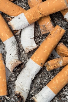 Gros plan de mégots de cigarettes
