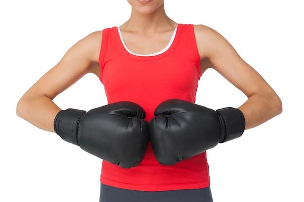 Gros plan, milieu, section, femme, déterminé, boxeur