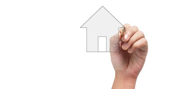Gros plan modèle de maison de dessin à la main
