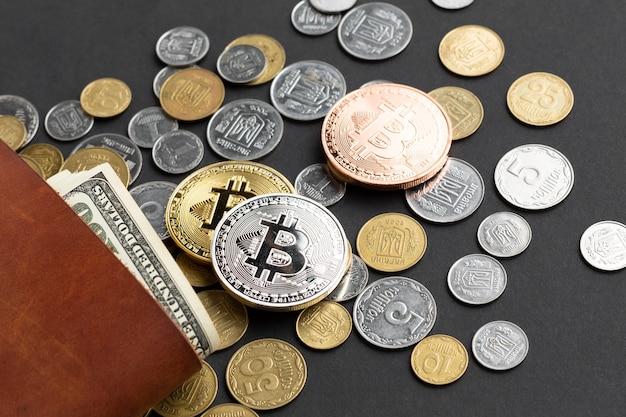 Gros plan, monnaie, portefeuille