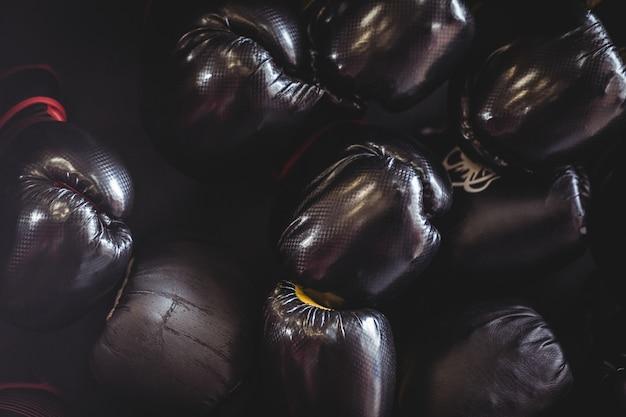 Gros plan, noir, boxe, gants