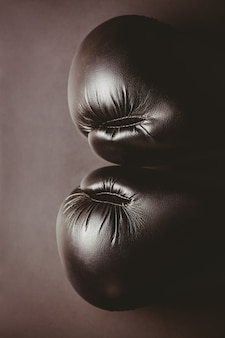 Gros plan, noir, gants boxe