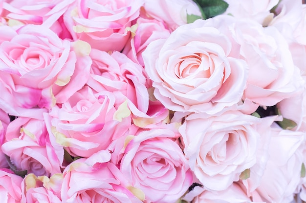 Gros plan sur de nombreuses roses rose pâle en tissu avec arrière-plan flou comme concept de la saint-valentin.