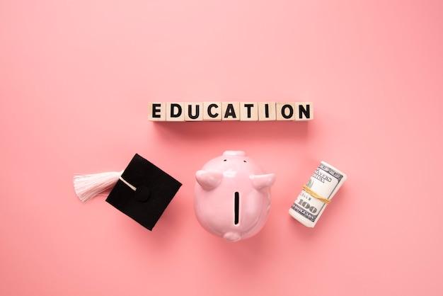 Gros plan sur les objets de l'éducation et de l'économie