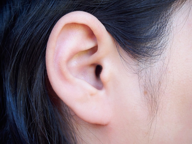 Gros plan de l'oreille féminine