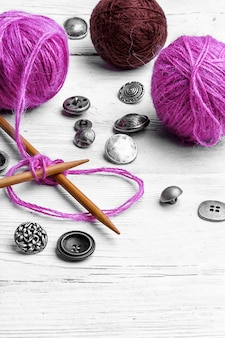 Gros plan, outil, tricot