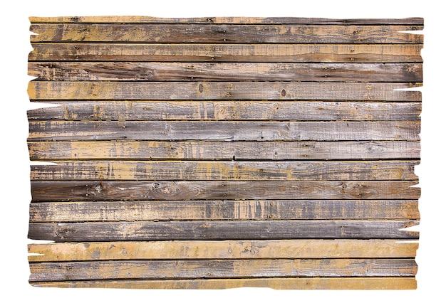 Gros plan d'un panneau en bois vide sur fond blanc avec un tracé de détourage