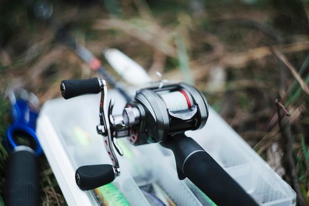 Gros plan, de, pêche, moulinet