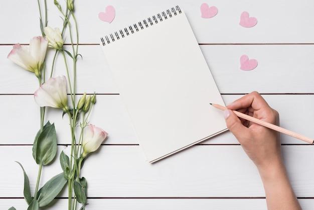 Gros plan, personne, écriture, spirale, bloc-notes, crayon