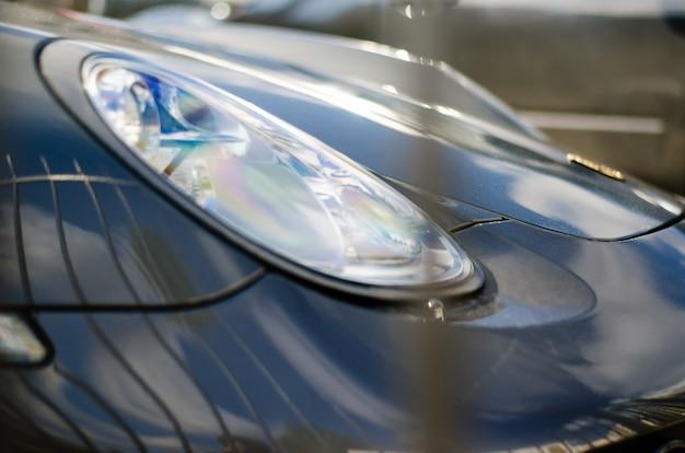 Gros plan, de, phares de voiture